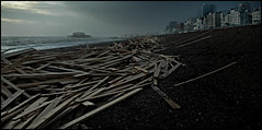 The Horror (Sudden Fiction) Tags: ocean news beach broken wet weather pier nikon brighton d70 timber bad windy cargo wash shore rough wreck current seas whoops relentless unforgiving iceprince