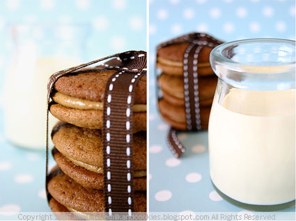 Molasses Sandwich Cookies and Milk
