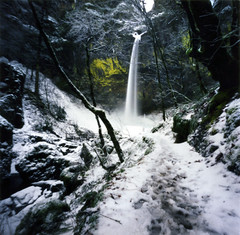 elowah's winter coat (manyfires) Tags: winter snow film oregon waterfall hiking pinhole trail pacificnorthwest icy zero2000 columbiarivergorge zeroimage palabra elowah elowahfalls snowbowl2008 pinholebb