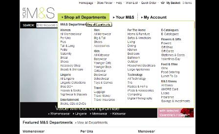 M&S dropdown menu
