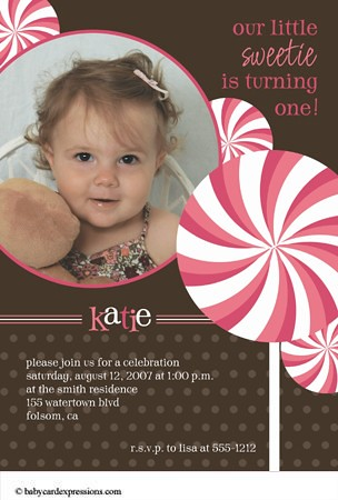 Photo Birthday Invitation, Candyland, Lollipop, babycardexpressions.com