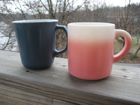 Pyrex Steel Blue & Pink Hazel Atlas Mugs