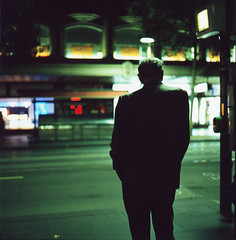 Lonesome hour, lonesome night (AAGCTT) Tags: man 6x6 film mediumformat back melbourne stranger pushed2stops hasselblad501cm rckenfigur fujichromeprovia400xrxp carlzeissplanar80mmf28cfe