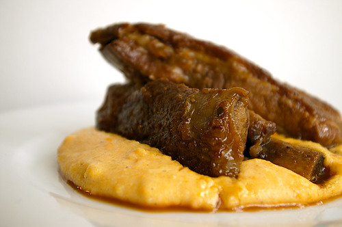 Braised pork ribs with sweet potato polenta