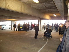 queue to visit the upper levels of the 'Get Carter' Car Park
