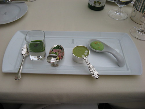Everest: Amuse bouche - spring onion and garlic mousse, pork belly, asparagus soup, broccoli mousse with parmesan cheese
