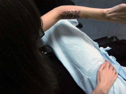 Typewriter Font Tattoo Hip