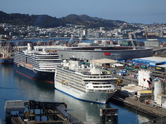Noordam and The World cruise ships (Karen Pincott) Tags: noordamcruiseship noordam theworldcruiseship theworld wellington capitalcity newzealand summer calm harbour city cruising westpacstadium ship