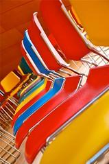 Walt Disney Concert Hall - BP Hall (La Ola) Tags: blue red yellow la hall losangeles concert colours chairs seats bp waltdisney