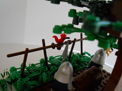 Carrying Gold for the King (Eklund!) Tags: tree bird castle fence treasure lego knights foiliage moc legocastle