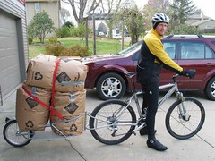 Hauling Leaves to the compost...via bicycle