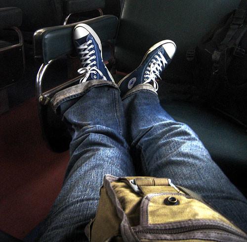 blue green train relax relaxing khaki canvas jeans converse