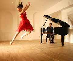 Dancer and Piano Series 10 (Bird on a Wire) Tags: red ballet dance dress leeds piano dancer grace pianos nymph leap besbrode
