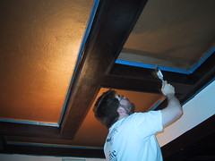 Jason painting the ceiling (litlnemo) Tags: painting gold ceiling oldhouse ac craftsman bungalow artsandcrafts boxbeams