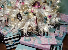 gifts under the tree (holiday_jenny) Tags: christmas pink blue decorations white holiday black tree silver wrapping paper gold aqua sweet gifts 2007