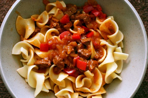 goulash over egg noodles