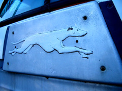 Greyhound Found (catchesthelight) Tags: travel vacation reflection window metal logo fun mirror rust newengland nh 1950s transportation familyfun 1960s motorhome streamline greyhoundbus itsmulticolored refitted scenicruiser