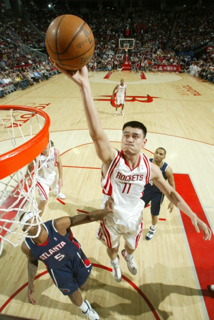 Yao Ming scores two of his 28 points (12-of-17 shooting) Saturday night in Houston against the Atlanta Hawks.  Houston beat the Hawks easily, at one time holding a 33-point lead.  The Rockets have won 6 in a row to get their record to 30-20 and are in the thick of the hunt for a playoff spot.