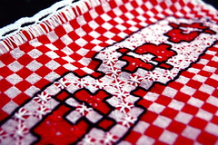 : ) (v@lentina) Tags: red white home kitchen lady project scarlet table diy craft made indoors needlepoint 365 cloth capturenx