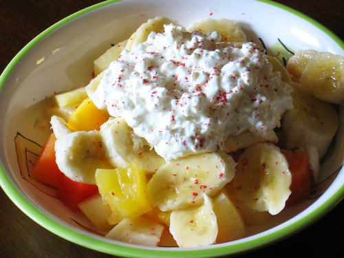 Fruit salada with pink peppercorn