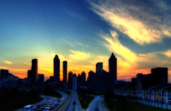 Atlanta Skyline Silhouette (sunsurfr) Tags: blue atlanta sunset orange colors yellow skyline photoshop buildings georgia gold colorful structure skyscrappers d200 skyscrapper sunsurfr