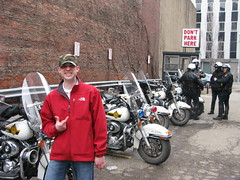 Justin and the Cop Bikes (amishjim) Tags: justin green canon pittsburgh cops police motorcycles parade stpatricks stpattys marketsquare stationsquare stpatricksdayparade g9 canong9