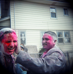 34570006.jpg (dogseat) Tags: pink people color fun weird holga colorful ishootfilm queens gothamist dye susannah richmondhill 68 apply sixeight phagwa phagwah babypowder