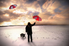 Gone with the wind (Nina_999) Tags: sunset sky woman dog girl umbrella canon finland spring sundown wind shepherd german soe eos20d gbr ogm themoulinrouge goldenglobe topshots mywinners artlibre infinestyle diamondclassphotographer flickrdiamond windsandandwater betterthangood theperfectphotographer goldstaraward multimegashot obq