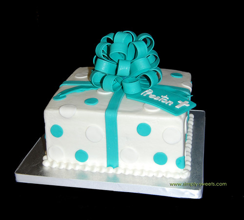 turquoise and white package baptism cake originally uploaded by