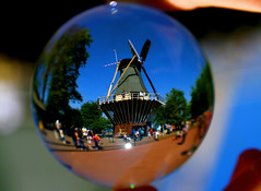 This windmill fits nicely in my crystal ball. (kees straver (will be back online soon friends)) Tags: crystalball crystal ball windmill mill dutchicon sky wind holland tourists keukenhof lissen blue molen refraction sphere mywinners keesstraver