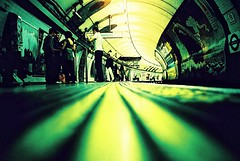 Waterloo Waiting... (Trapac) Tags: uk england people london film lines yellow underground spring lomo lca xpro lomography crossprocessed waiting kodak curves tube platform arches lomolca slidefilm waterloo blogged londonunderground elitechrome find 100iso londonist floorshot kodakelitechrome wmh omo waterlooundergroundstation explored bloggedwithlink bloggedwithlinknotinformed lomolcaroll16