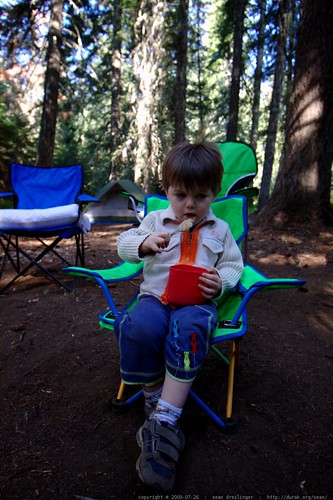 starting his first-ever camping breakfast with a bowl of blueberry oatmeal - _MG_9844