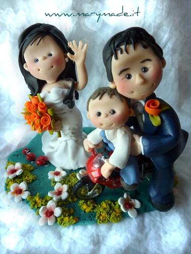 Cake Topper Personalizzati per Matrimonio con bimbo e moto