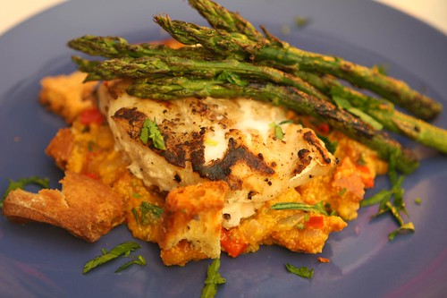 Grilled Tilefish with Roasted Sperlonga, Chorizo Corn Grits, and Grilled Asparagus
