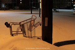 WHY DO I EVEN TRY??!? #2424 (Dan Meade) Tags: winter shadow urban snow night canon ma 50mm failure shoppingcart noflash pole somerville 7d halogen futility snowbank grocerycart givingup assemblysquare canon50mmf14usm universalhub