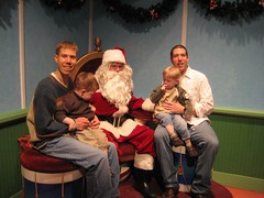 The boys and Dads with Santa (they didn't want to sit on his lap)