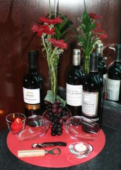 Counter display 2 (Mary Susan Smith) Tags: red stilllife display wines challengeyouwinner cychallengewinner photofaceoffwinner photofaceoffgoldmedal pfogold