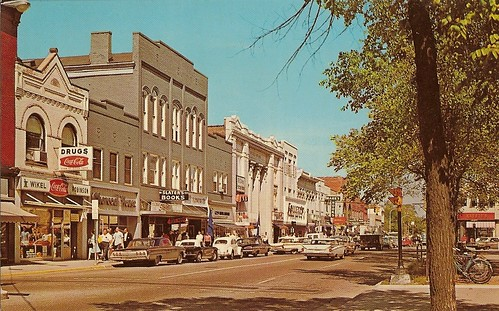 State Street looking north, early 1960s -- chrome postcard by Hiawatha