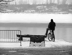 In bici a Lido Po (nikiold) Tags: winter bw snow man bicycle river fiume explore uomo neve po bici inverno lido reggioemilia guastalla