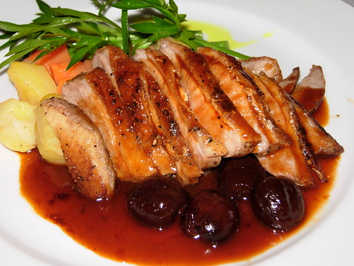 duck breast with black cherries