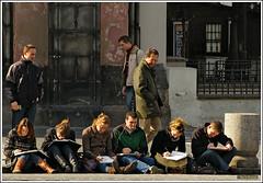 Doing homework? (zehawk) Tags: street travel vacation tourism students notebook photography europe prague drawing europeanvacation czechrepublic oldtownsquare passersby 5photosaday