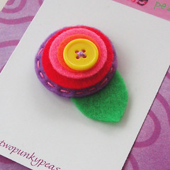 Rainbow of colors posie felt flower hair clip (twopunkypeas) Tags: pink red orange yellow hair leaf purple circles felt clip button posie clippie