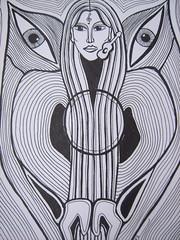 Tuschezeichnung......... (lydialuise) Tags: music art germany deutschland eyes women kunst musik augen frau gitarre tuschearbeit indiaunkwork