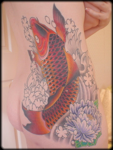 dynamic tattoo. fish. irezumi