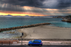 Le Prophte 1 (marcovdz) Tags: sunset beach marseille sunrays hdr coucherdesoleil 3xp plageduprophte