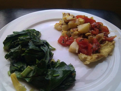 Collard Greens and Potato Frittata in Warm Tomato Sauce