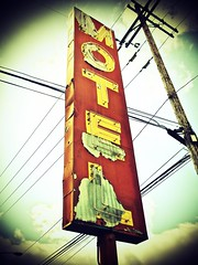 South Tacoma motel sign 3 () Tags: old blue sky usa classic church sign metal clouds america vintage way photography photo washington interesting highway peeling paint neon cross state pacific northwest image decay steel south united picture rusty motel nostalgia photograph 99 processing nostalgic tacoma states roadside vignette