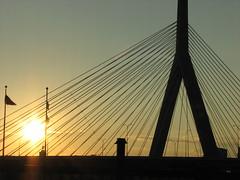 Zakim Freedom Bridge drive by shooting (riaskiff) Tags: sunset boston digital canon driveby explore project365 canonpowershots3is 71365 102007 flickrgolfclub riaskiff zakimfreedombridge