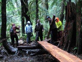 Mountain bikers help repair trails.