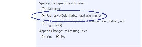 Rich Text Screen